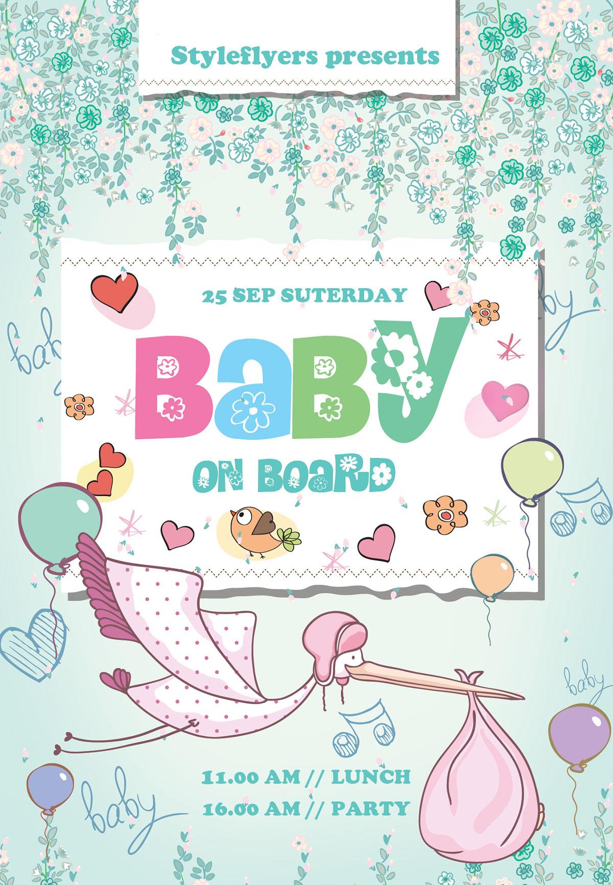 Flyer Template – Baby Birthday - Heroturko Download