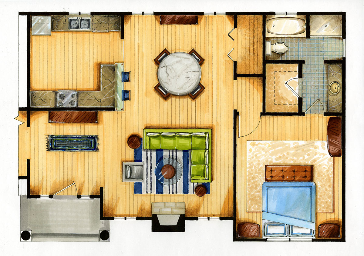 Marker And Colored Pencil Drawing: Apartment Floor Plan On