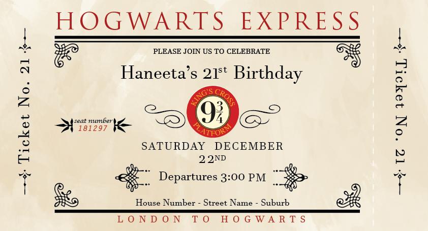 harry potter birthday invitation 2018