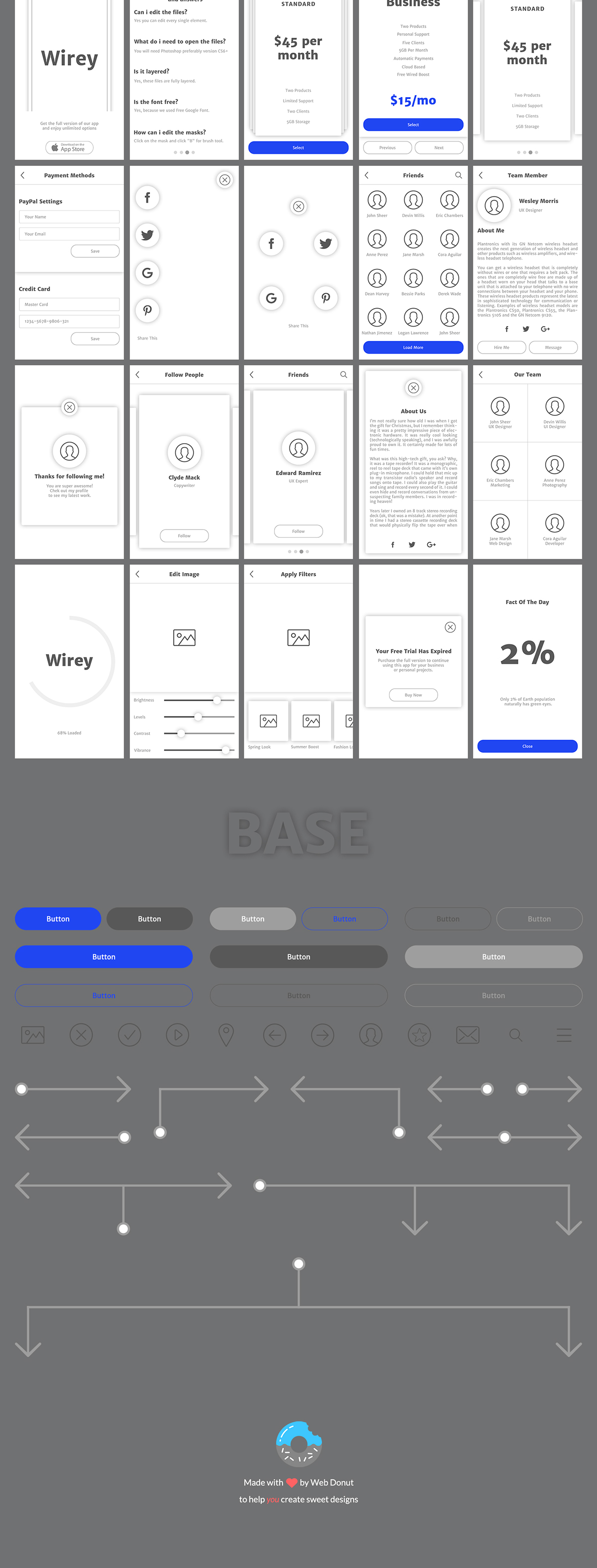 Wirey Mobile Wireframe Kit on Behance Buy Wirey Mobile Wireframe Kit from