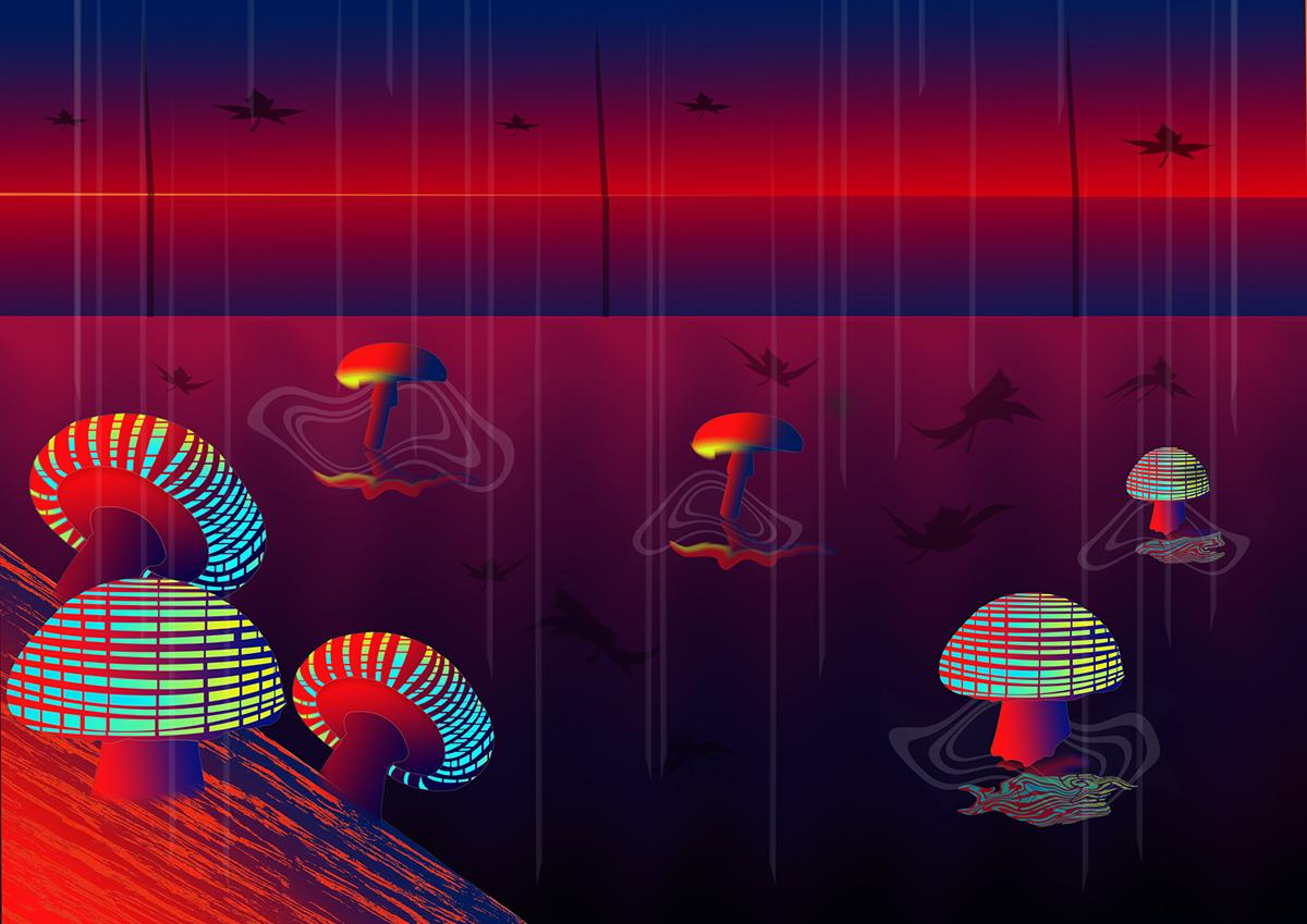 Mushrooms In The Rain On Behance