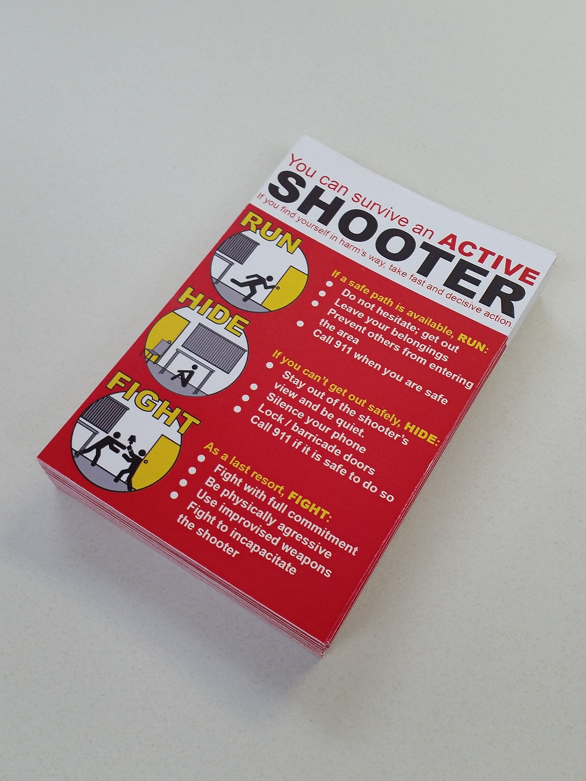 Active Shooter Palm Card On Behance