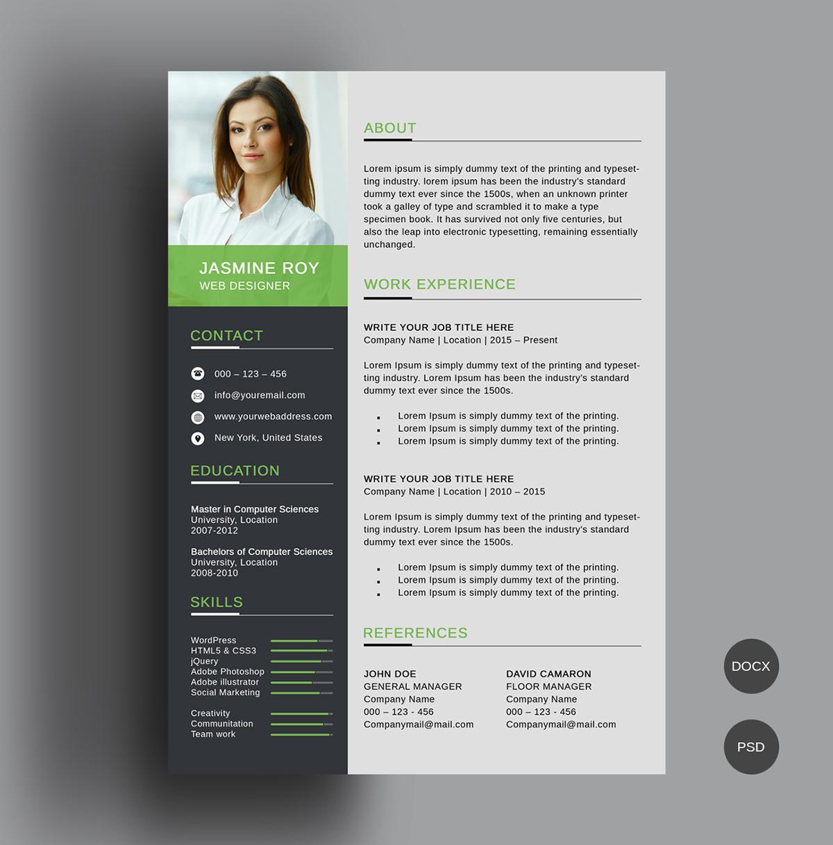Free Clean Cv Resume Template On Behance