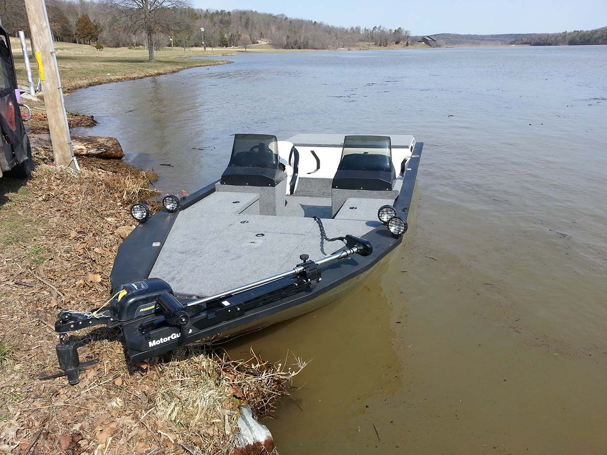 top view of black boat