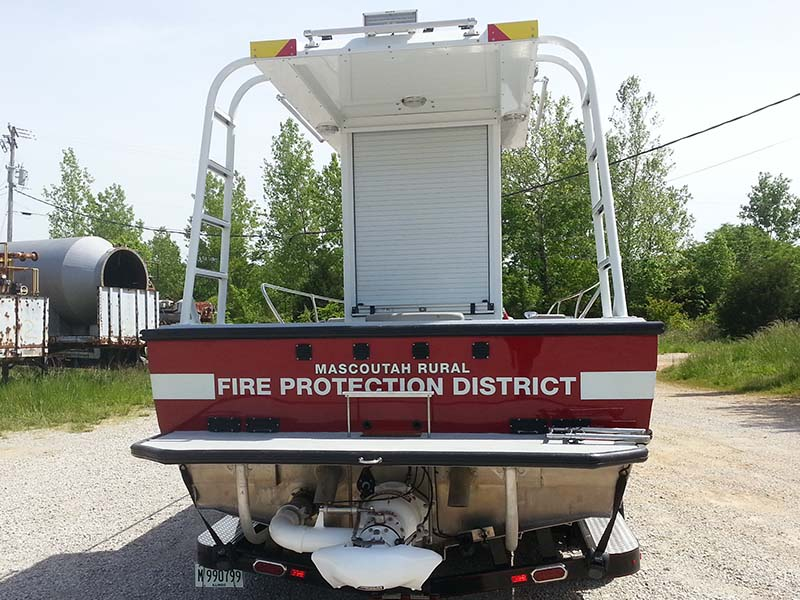rear view of fire protection district boat
