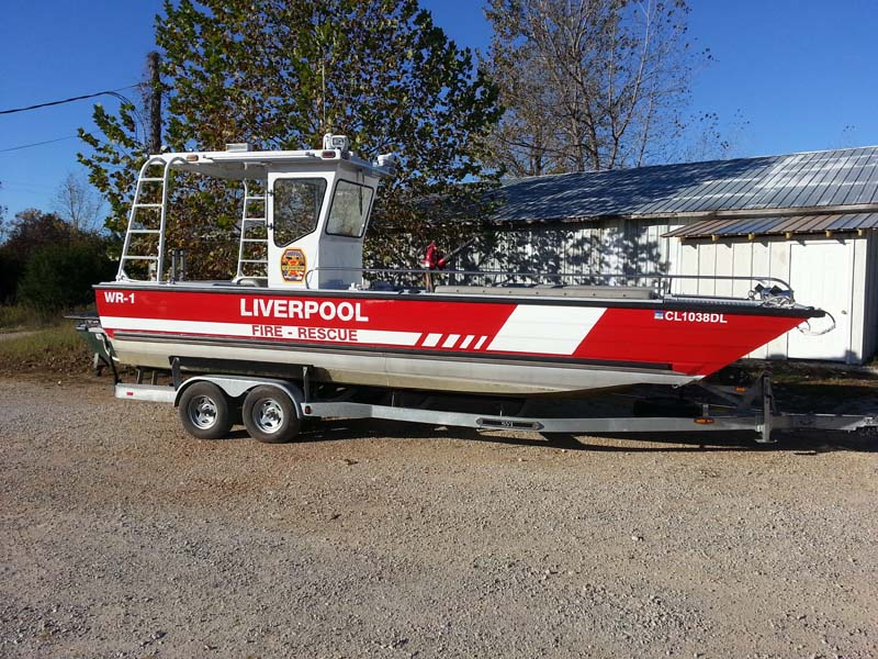 liverpool fire rescue boat on a trailer