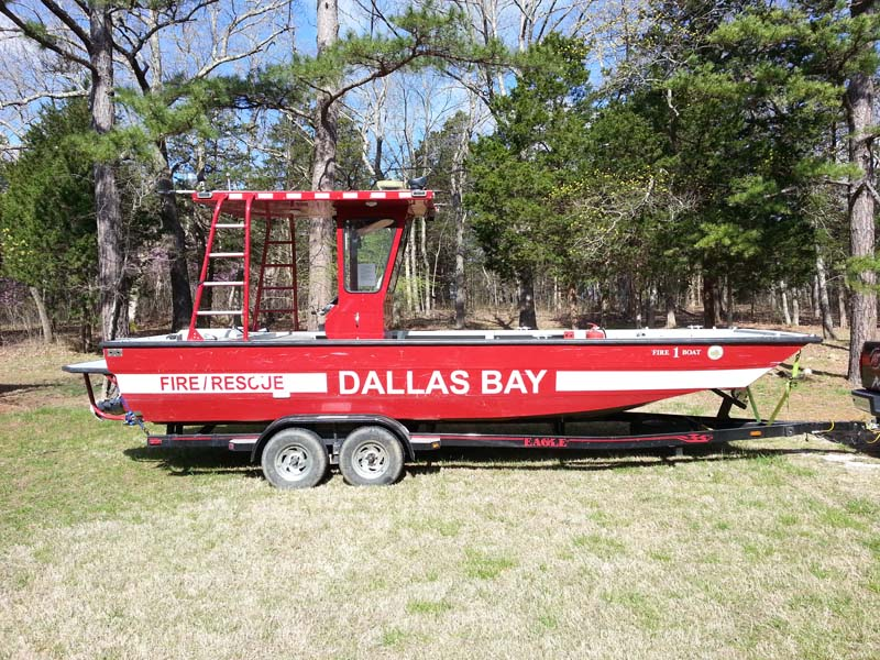 Dallas Bay fire rescue boat on a trailer