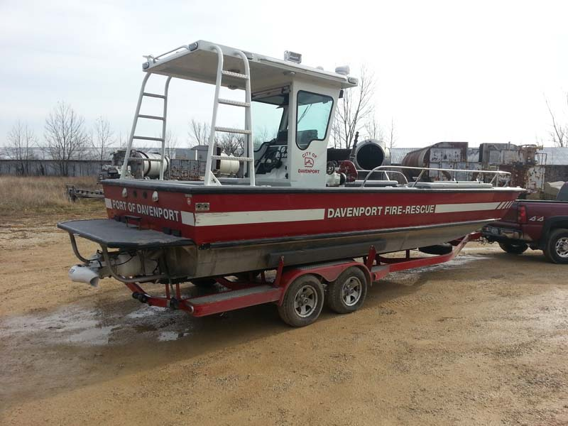Davenport fire rescue boat on a trailer
