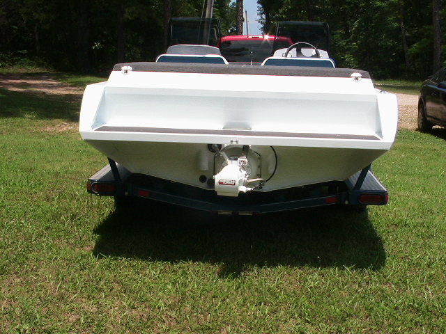 rear view of white boat