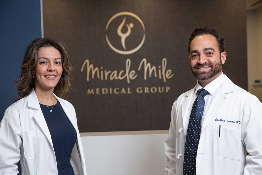 Sister and brother, Dr Parvaz Mizrahi and Dr Shahbaz Farnad, Miracle Mile Medical Group