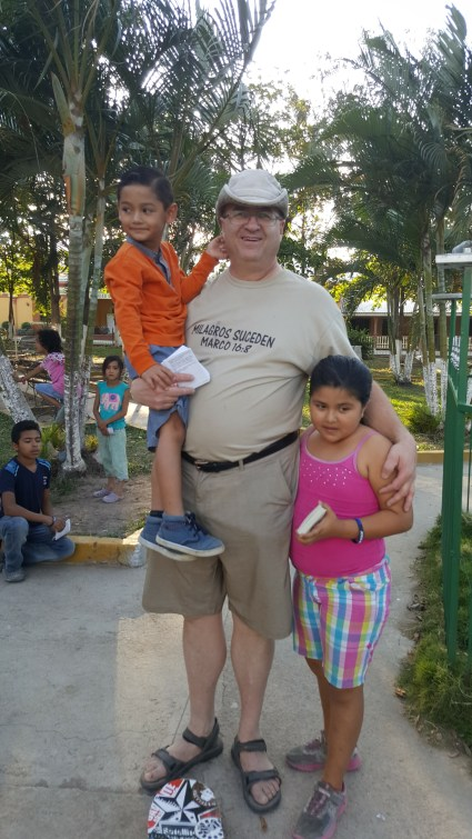 Evangelizing in the park in San Francisco Honduras