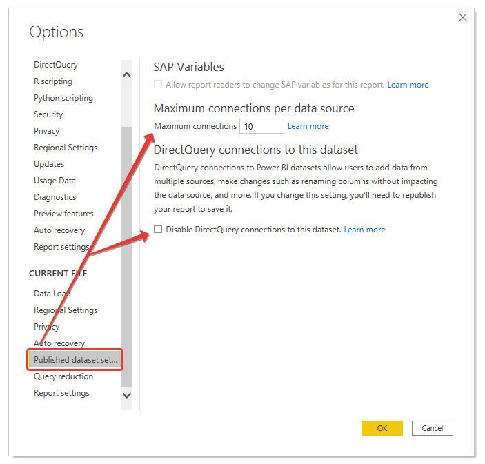 microsoft power bi features discourge chaining