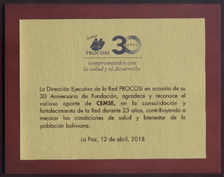 PROCOSI en su 30 Aniversario de Fundación agradece y reconoce el valioso aporte de CEMSE
