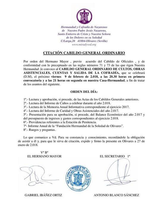 CABILDO GENERAL ORDINARIO 2018
