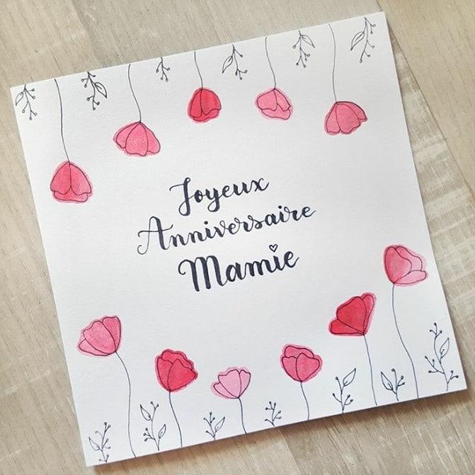 Carte d'anniversaire calligraphiée et décorée de coquelicots