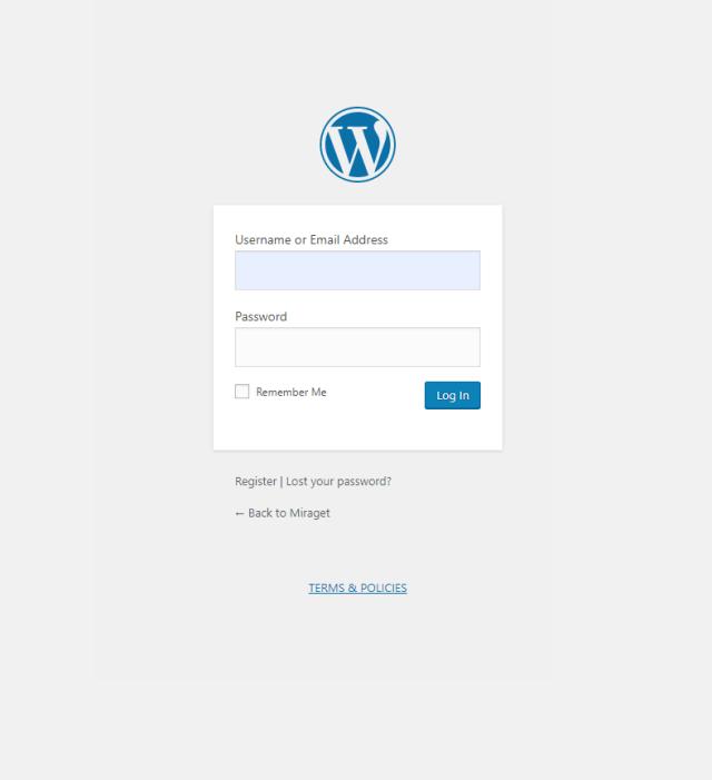 Miraget Install WordPress Plugin - Admin Login