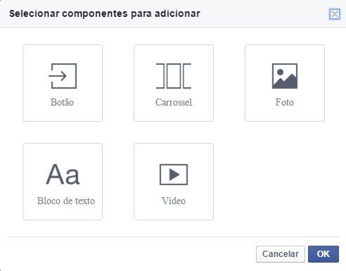 componentes do facebook canvas