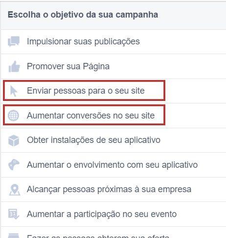 objetivo de campanha facebook