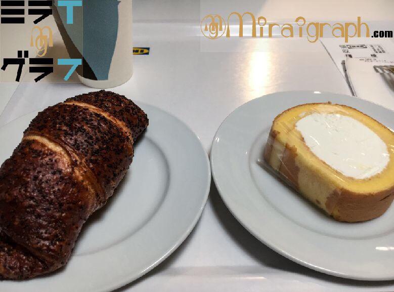 IKEAのロールケーキとクロワッサン