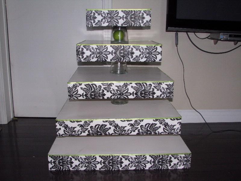 Black DIY Wedding DIY Damask Cupcake Stand Mir Aja Wedding