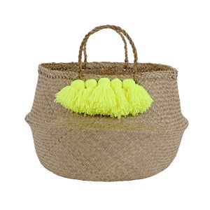 MM Neon Yellow Tassel Basket