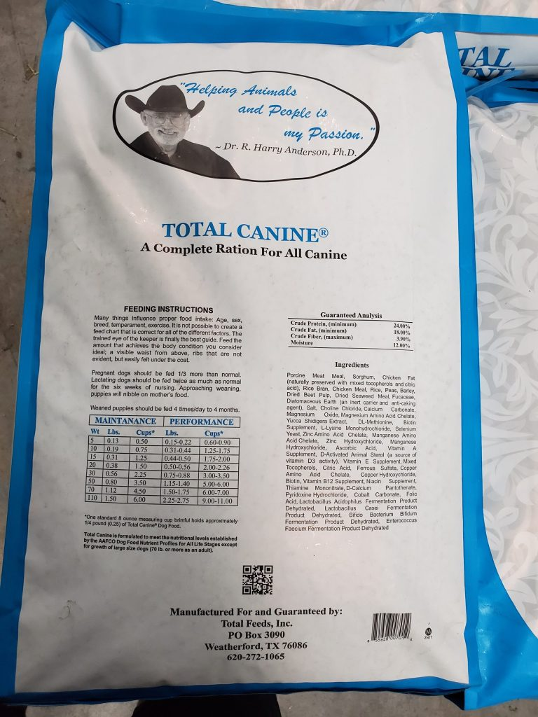 NEW, Total Feeds, Total Canine dog food for sale. Back of bag lists all nutritional values.