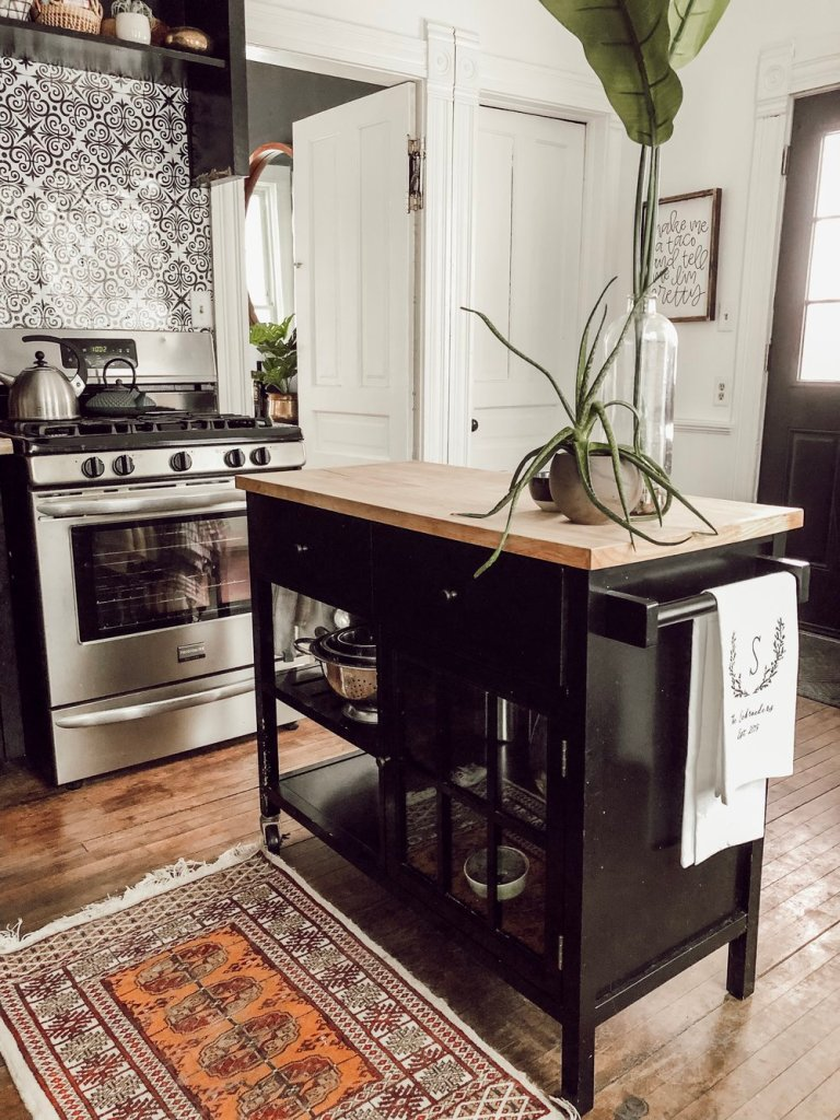 Inside the Home of a Modern, Victorian Filled with Cool Vintage | Black Eclectic Kitchen