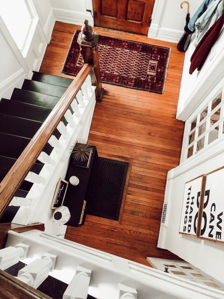 Modern, Vintage House Tour | Entryway, original wood floors, staircase | Miranda Schroeder Blog