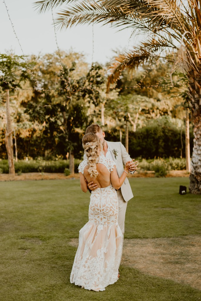 Our Destination Wedding at Flora Farms | Miranda Schroeder Blog  www.mirandaschroeder.com  Mexico Wedding, Cabo, Tropical Wedding, Unique Wedding Dress, Tropical Greenery Bouquet, Escort Card Table Ideas, Macrame, Sweetheart Table, Peacock Chairs, Nude & Ivory Lace Wedding Dress, Linen Suit, Lights, Sunset Photography, Farm Wedding  Ana & Jerome Photography