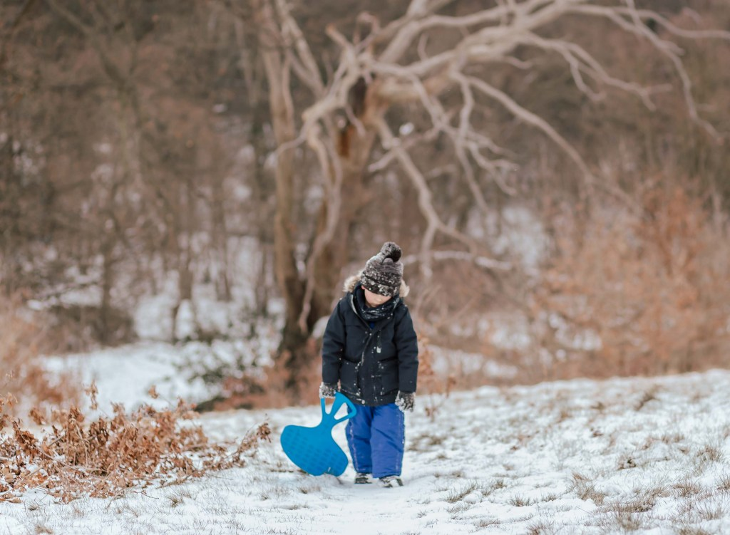 Snowy winter family photographs in Hilly Fields park Enfield