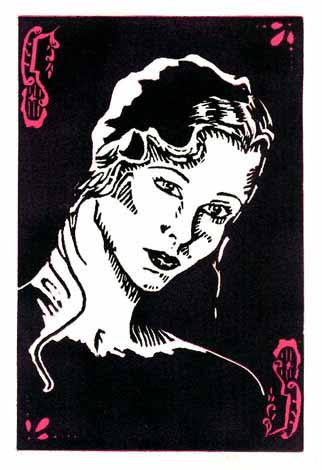 Deco Girl — linocut — 1988