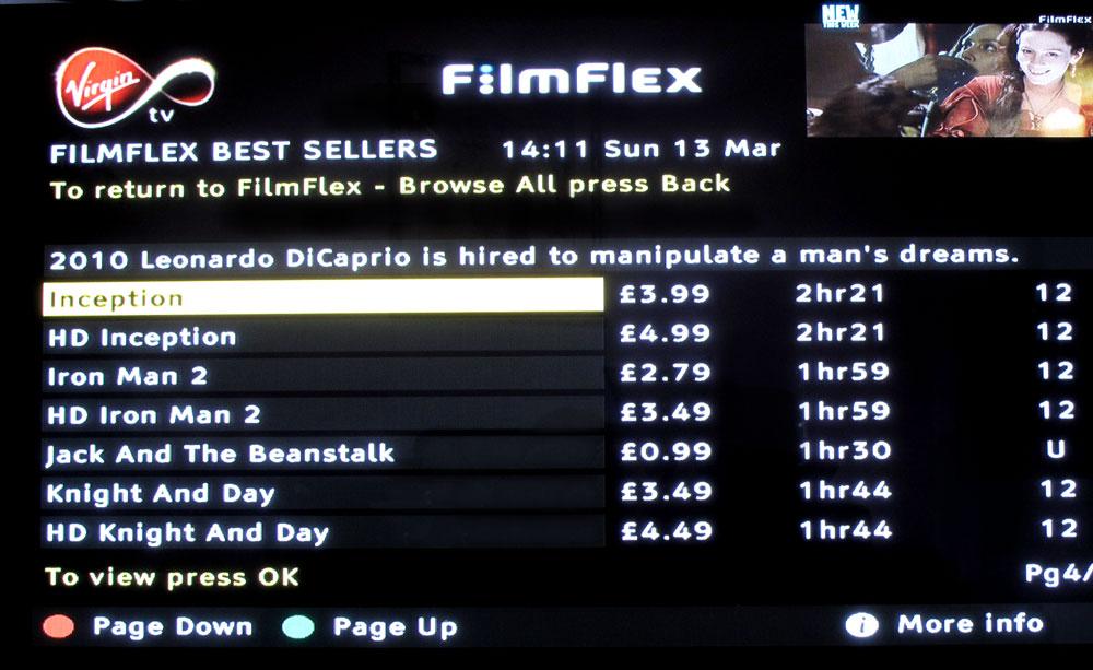 Virgin Movies - Bestsellers page
