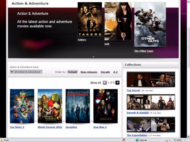 Virgin Media Online Movies - Action and Adventure category page