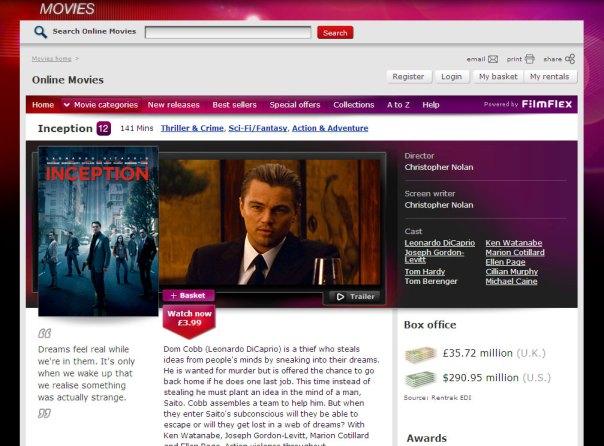 Virgin Media Online Movies - Film page - top