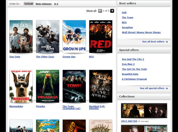 Virgin Media Online Movies - New Releases page