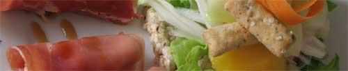 Ensalada y canelón de jamón