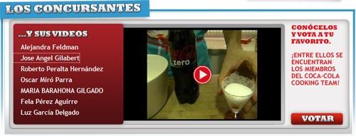 Soy candidato en el concurso Coca-Cola al Rojo Vivo.