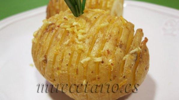 Detalle de la presencia de las patatas Hasselback