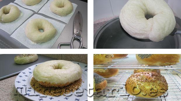 Cocido y horneado de los bagels