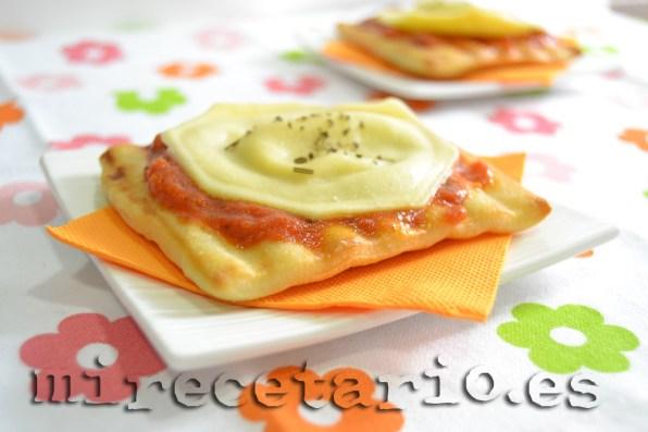 Pizza de ravioli (sin horno)