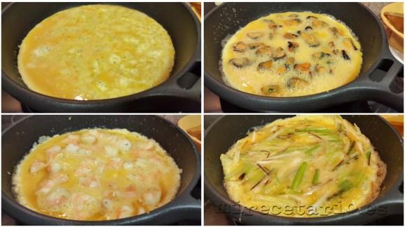 Las 4 tortillas con sus 8 huevos