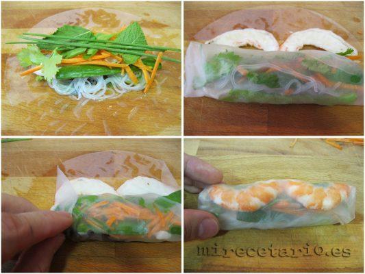 Como enrollar los rollitos de verano vietnamitas