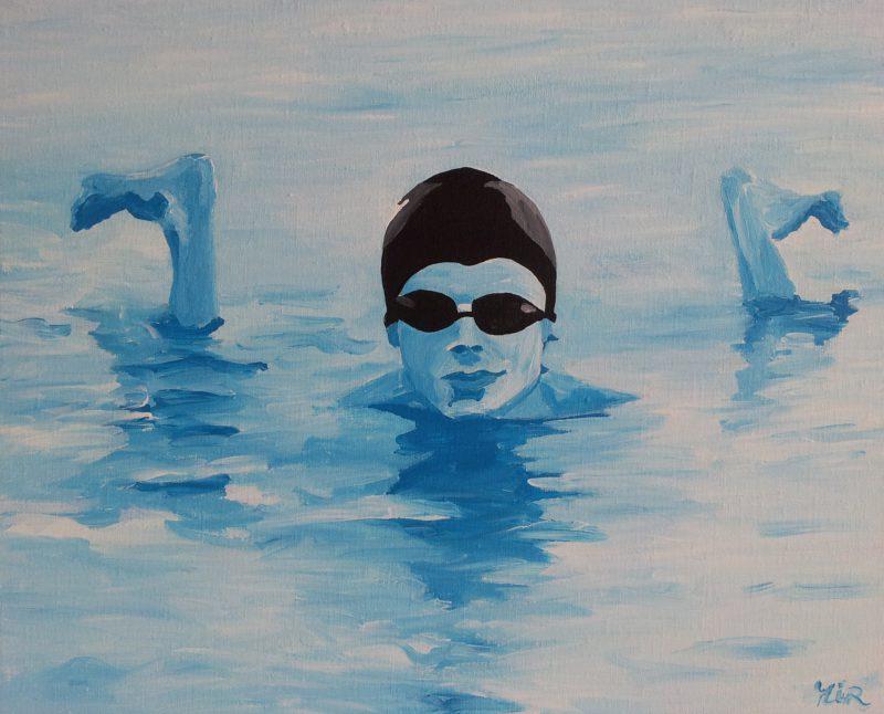 Zwemmer 40x50 cm
