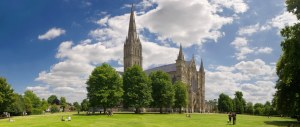 Summer panorama at Salisbury Cathedral
