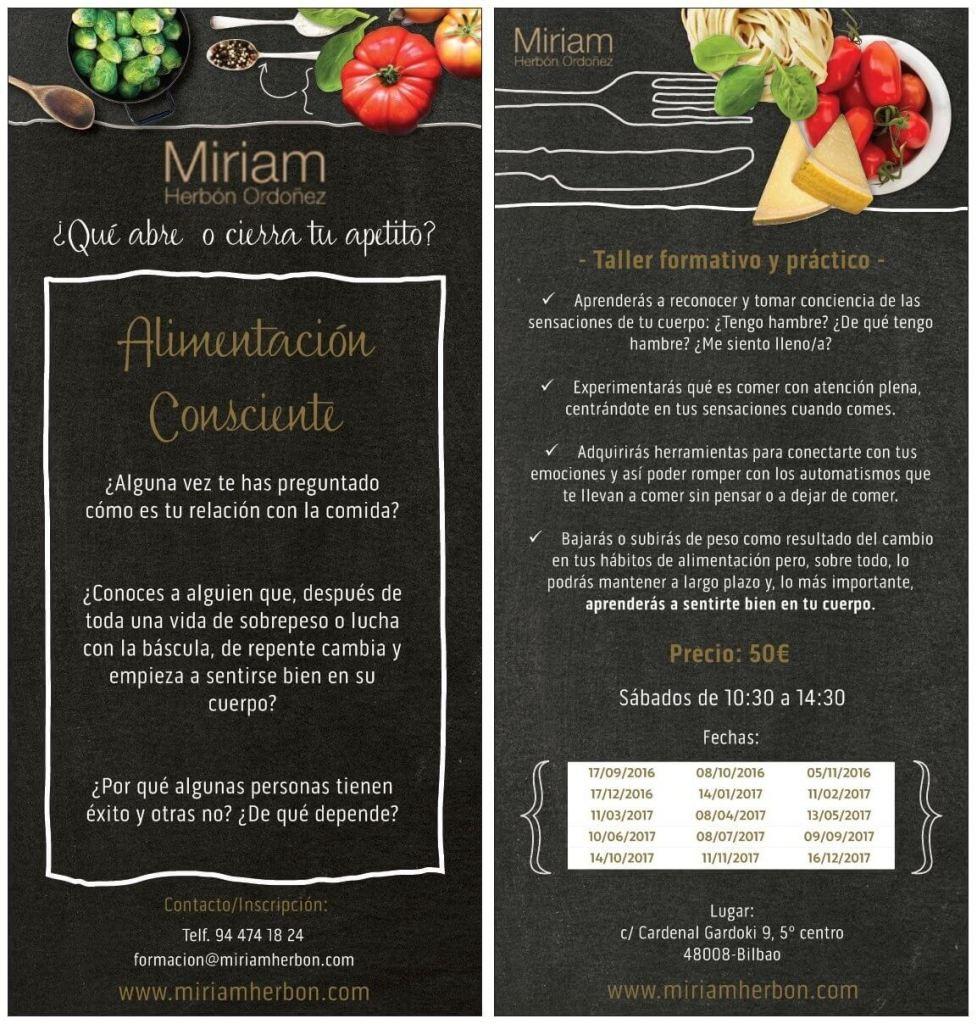 Taller Alimentación Consciente Miriam Herbon Bilbao
