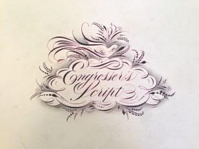 Barbara Calzolari's logo for her workshop on Engrosser script, Centro Sociale Giorgio Costa, Bologna, December 5–6, 2015 (photo: Miriam Jones).