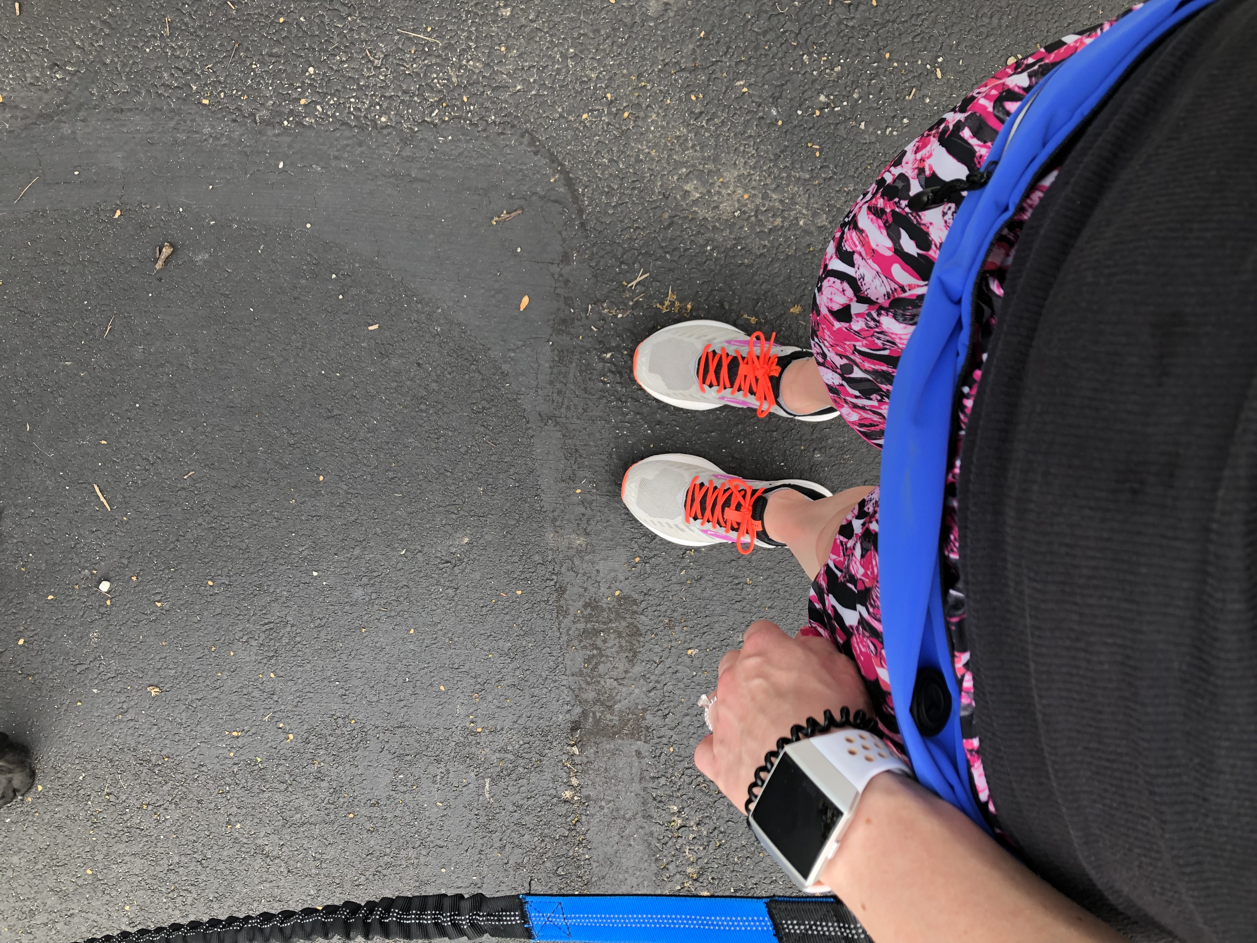 My running shoes, waist band, and Fitbit