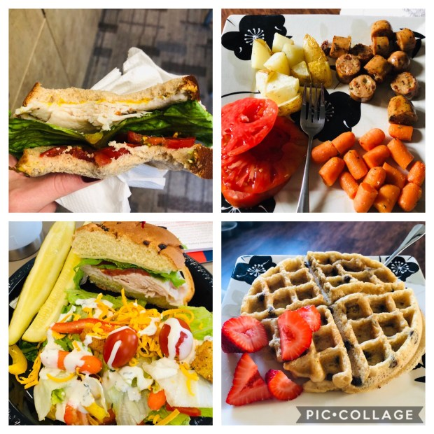 Turkey sandwich, chicken sausage, salad, veggies, waffle