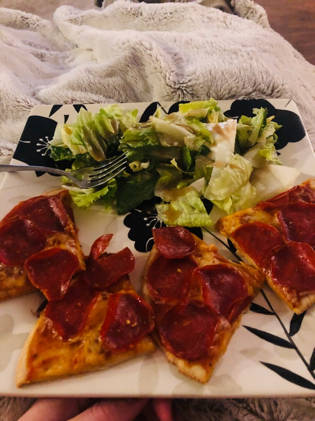 Salad and thin crust pizza