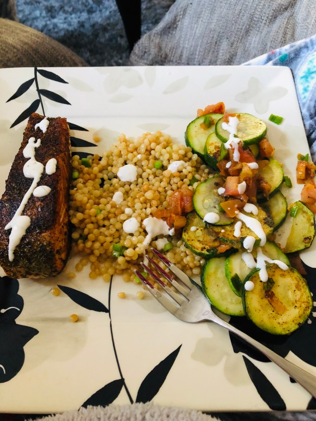 Salmon, veggies, and couscous